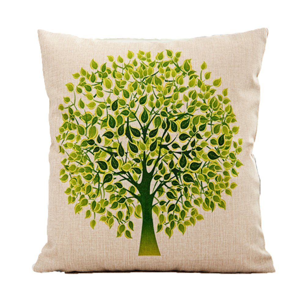 Vanki pastoral style cotton linen square decorative throw pillow