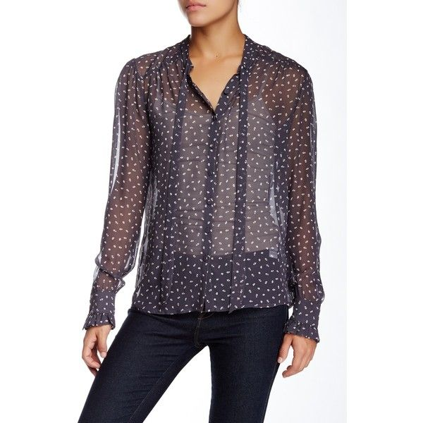 Gold Hawk Ditsie Silk Blouse ($60) ❤ liked on Polyvore featuring tops, blouses, pewter grey, see through blouse, sheer long sleeve top, gray silk blouse, sash belt and long sleeve silk blouse