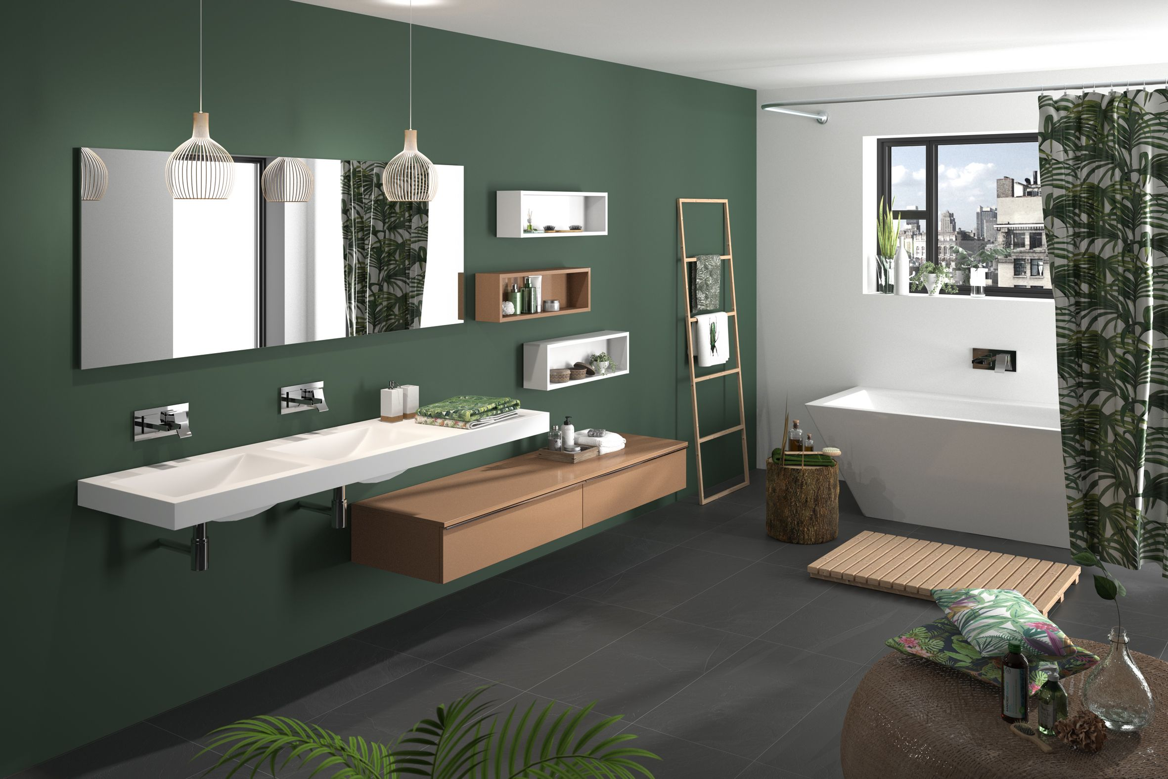 meuble de salle de bain cedam gamme extenso sur mesure double vasque bathroom vert. Black Bedroom Furniture Sets. Home Design Ideas