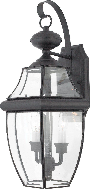 quoizel ny8317k newbury 2 light outdoor wall lantern mystic black