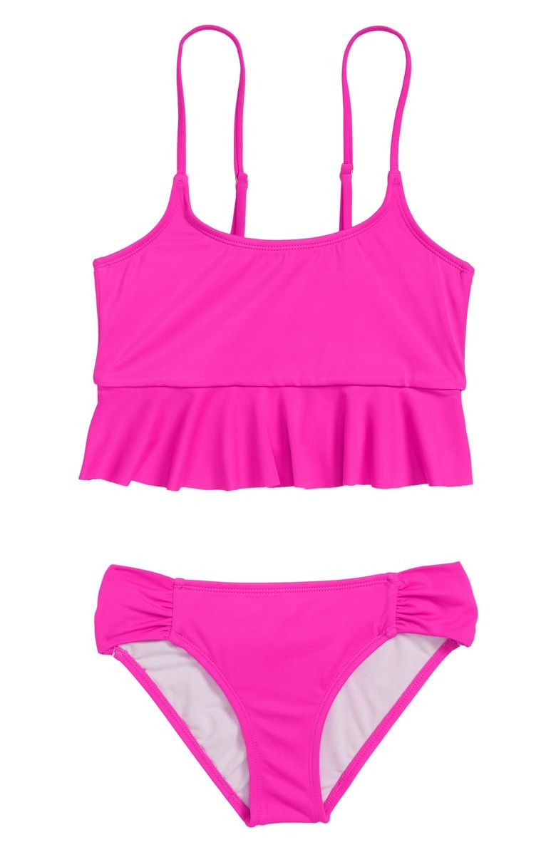 baef76c06ce Fluttery ruffled trim provides a sweet finishing touch for this two-piece  tankini swimsuit.