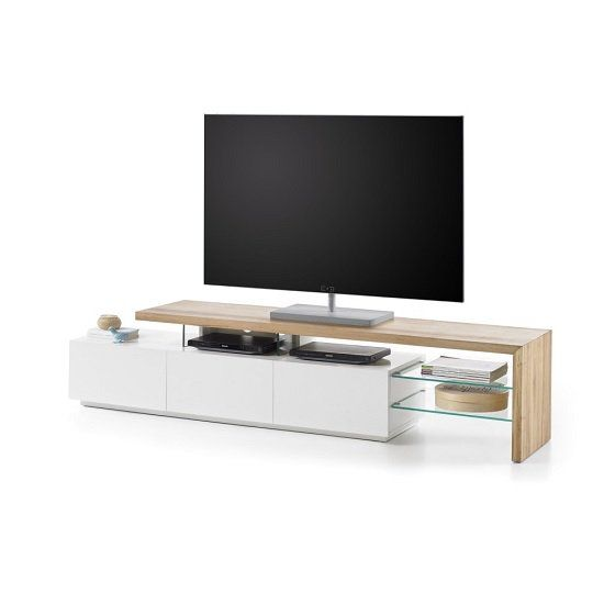 Knotty Oak Kitchen Cabinets: Alanis Modern TV Stand In Knotty Oak And Matt White With