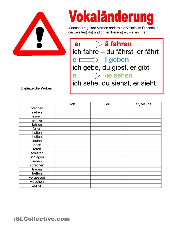 Willkommen auf Deutsch - Vokaländerungen - Verben | Deu | Pinterest ...