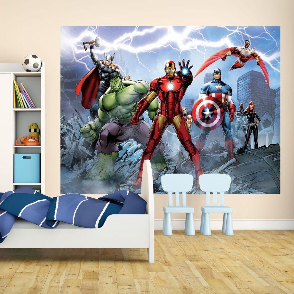 1 Wall Marvel Avengers Assemble Giant Wall Mural Comic Iron Man Thor ...