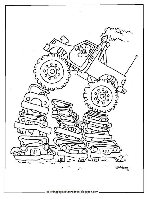 Coloring Pages for Kids by Mr Adron Printable Monster Truck - copy simple tractor coloring pages