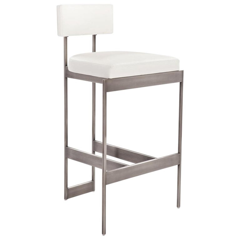Alto Bar Stool In White Leather With Satin Nickel Finish By Powell Bonnell Stool Furniture Leather Dining Chairs