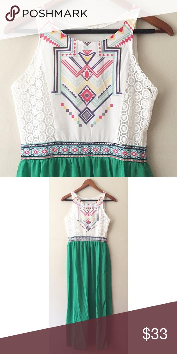 0ba6a4c47d2 Tribal Print Maxi Dress Gorgeous tribal print maxi dress. Sheer skirt   top  panels ✨✨✨ 💗Brand new! 💗100% polyester 💗Runs small