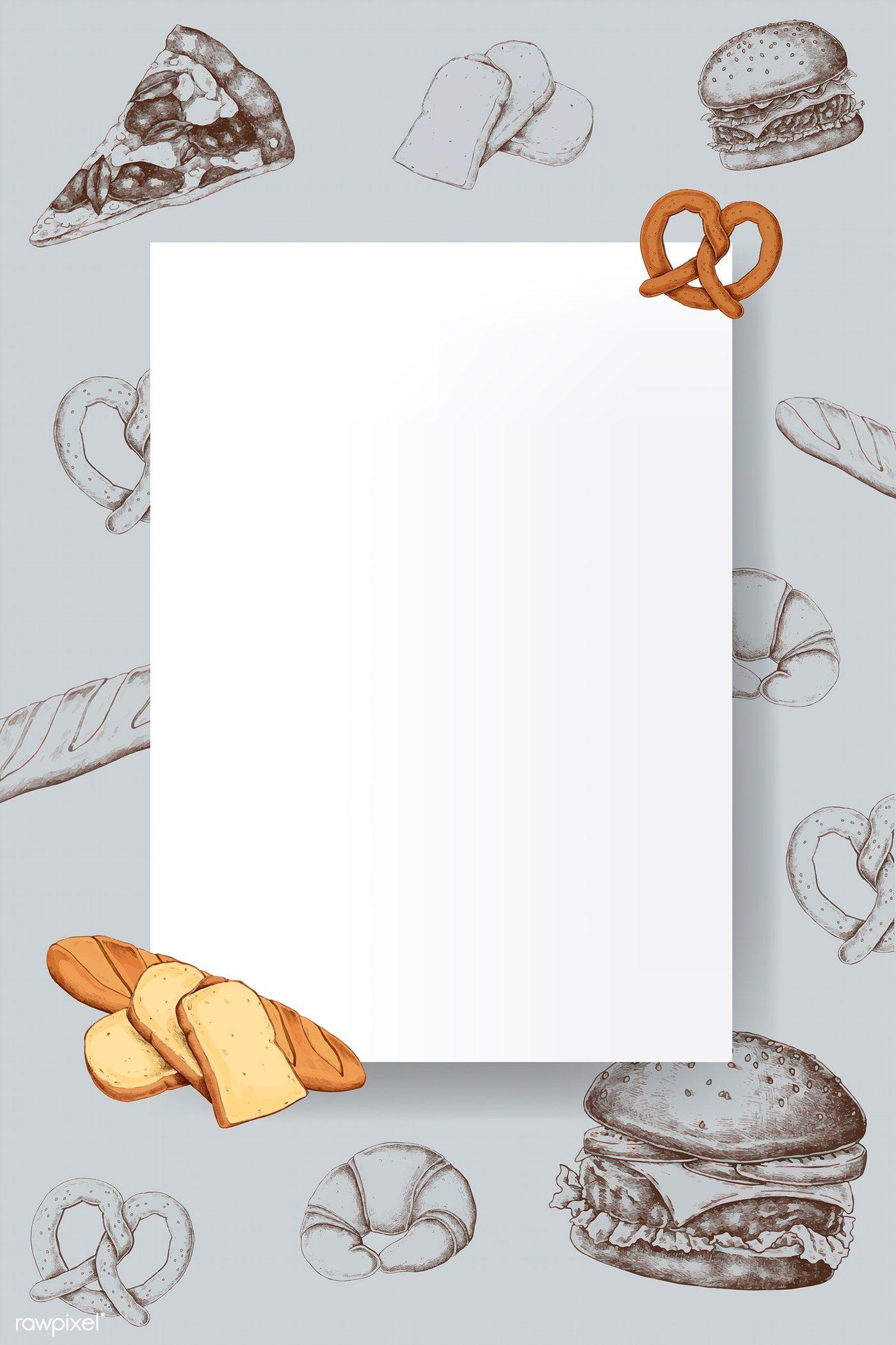 Download Premium Vector Of Blank Bread Frame Design Vector 1209024 Frame Design Food Poster Design Frame