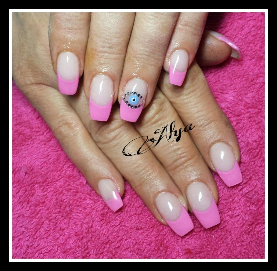 Hot pink French style long square gel nails with handpainted blue ...