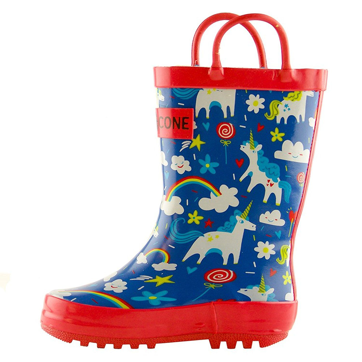 Amazon Com Lone Cone Children S Waterproof Rubber Rain Boots In Fun Patterns With Easy On Handles Simple For Kids G Toddler Rain Boots Kids Rain Boots Boots