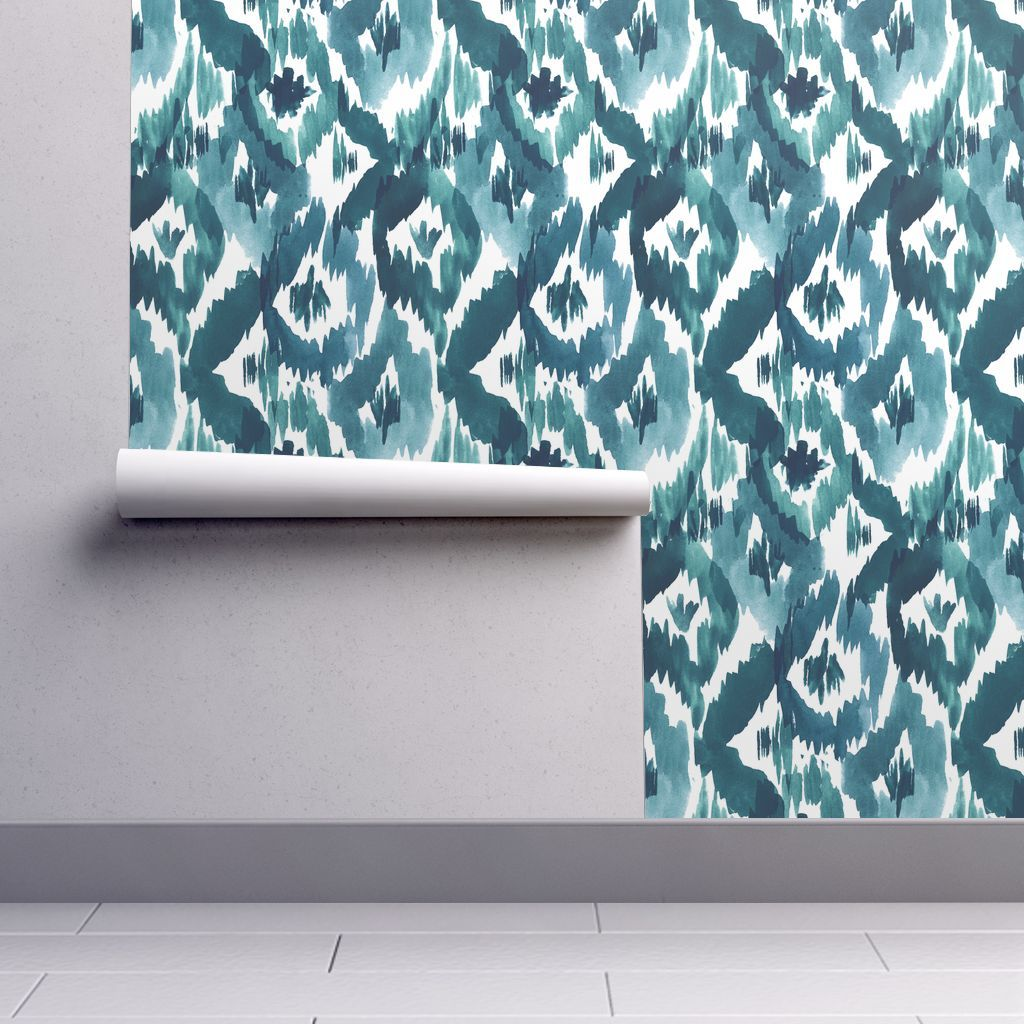Ikat Diamonds Teal Self adhesive wallpaper, Pattern