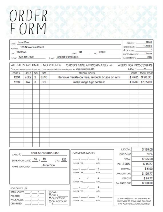 PDF General Photography Sales Order Form Template - Fillable Adobe - business order form
