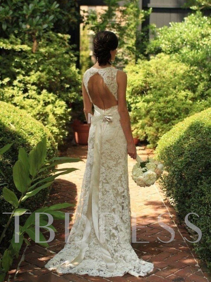 Open Back Sheath Beach Lace Wedding Dress Wedding Dresses