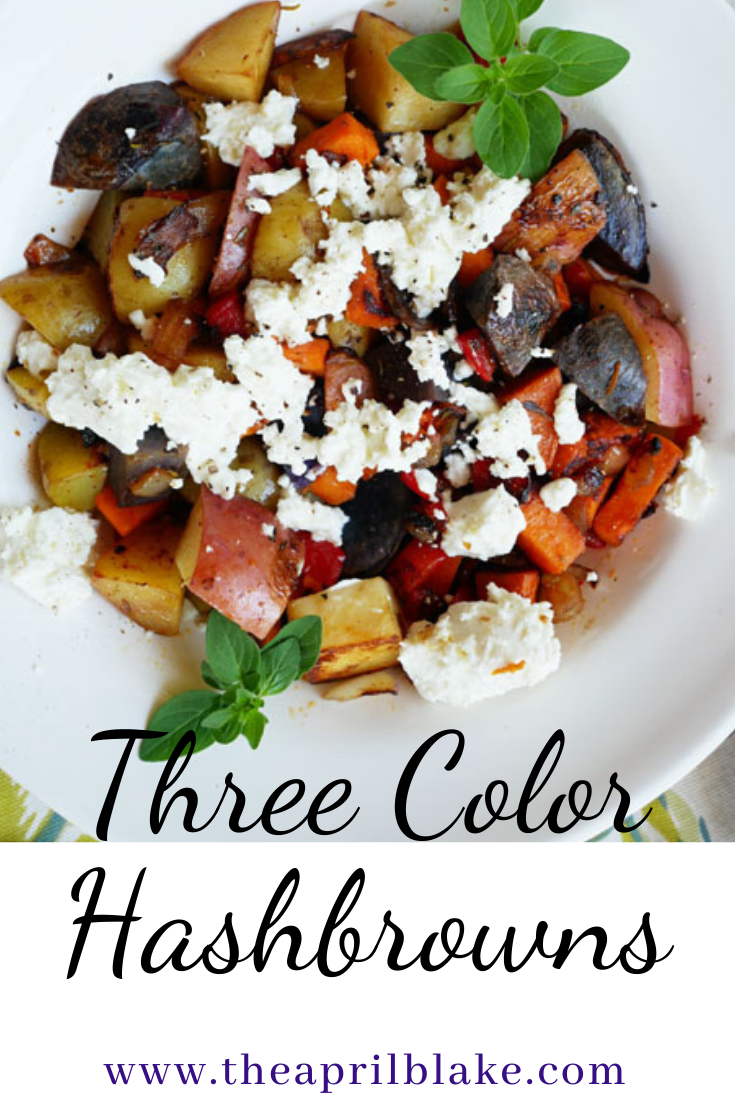 Three color hasbrowns with goat cheese for a colorful breakfast.   #purplepotatoes