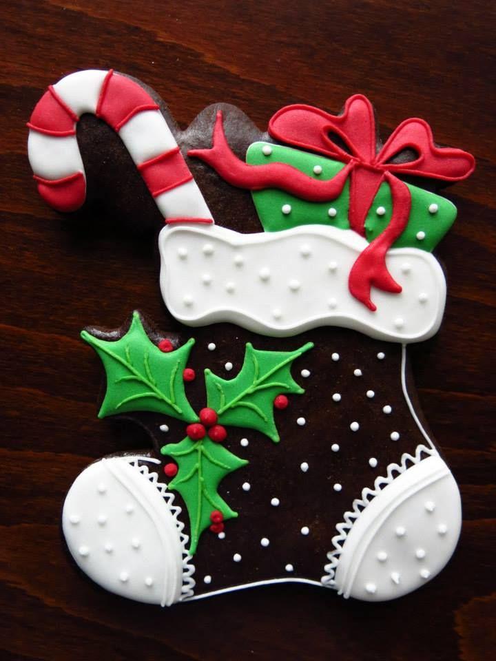 Beautiful Christmas stocking cookie Decoracion de galletas