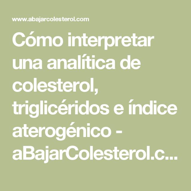 Como interpretar analisis colesterol