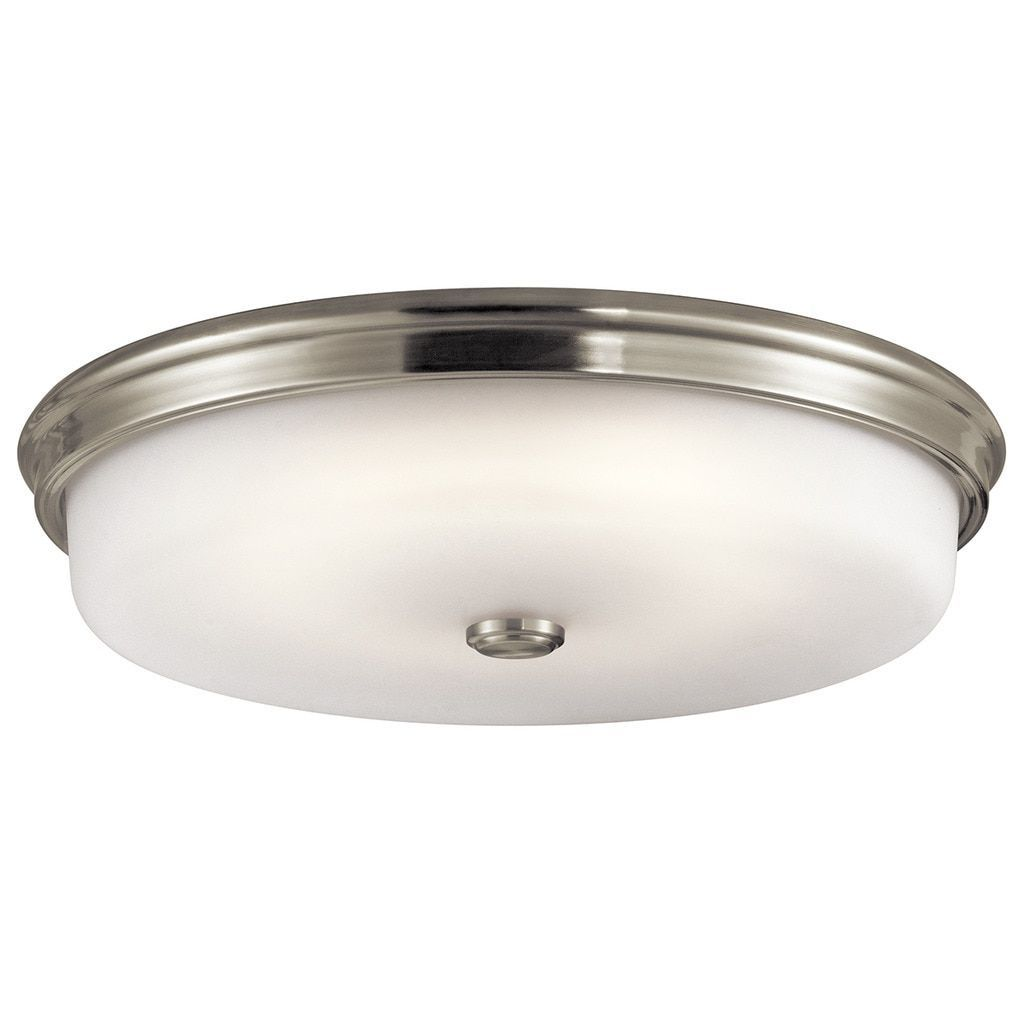 Kichler Lighting Traditional 1-light Brushed Nickel LED Flush Mount, Silver (Glass)