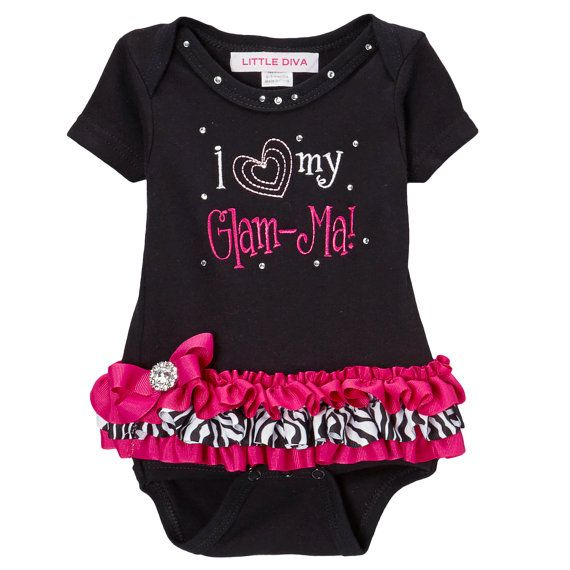 I Love Glam-Ma Black Bodysuit With Hot Pink And Zebra Tutu -7892