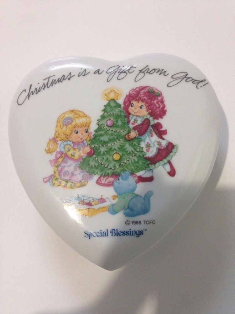 Vintage 1988 Special Blessings TCFC Christmas Porcelain Heart Shaped Trinket Box