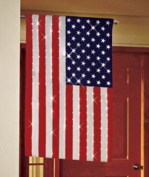 Lighted American Flag 43 Quot By 29 Quot Fiber Optic Flag Blinking Or Solid Lights A Great Americ