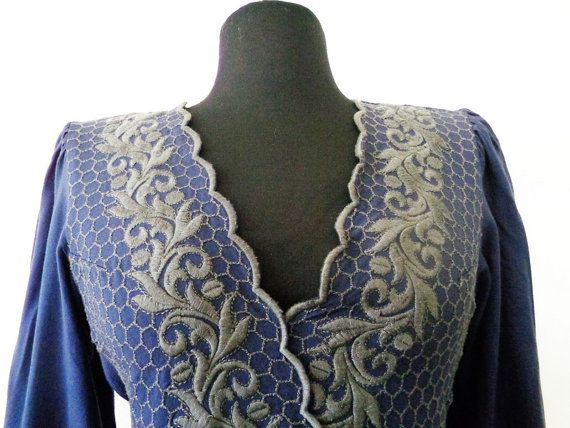 Blue Embroidered Top French Embroidered Blouse by MillionTreasures