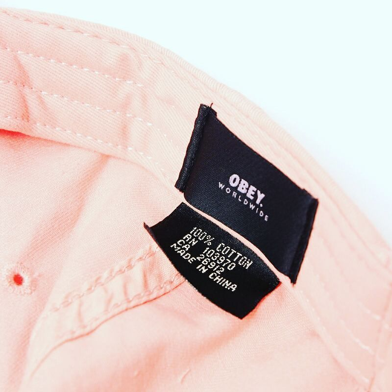 """Unstructured low profile fit. Brushed cotton 6 panel hat with embroidery compression closure and woven flag label.  @obeyclothing """"Jumble Bar II 6 Panel Rose""""  @152store"""