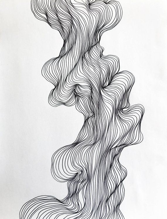 Abstract line art, black and white modern drawing, organic line shape design