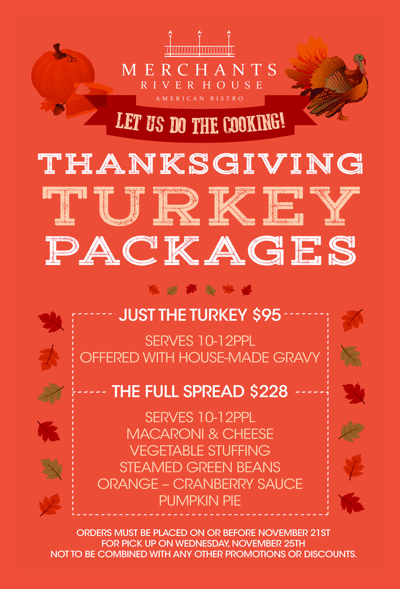 Turkey Package at Merchants River House! Place your order today!  #thanksgiving #merchantsriverhouse