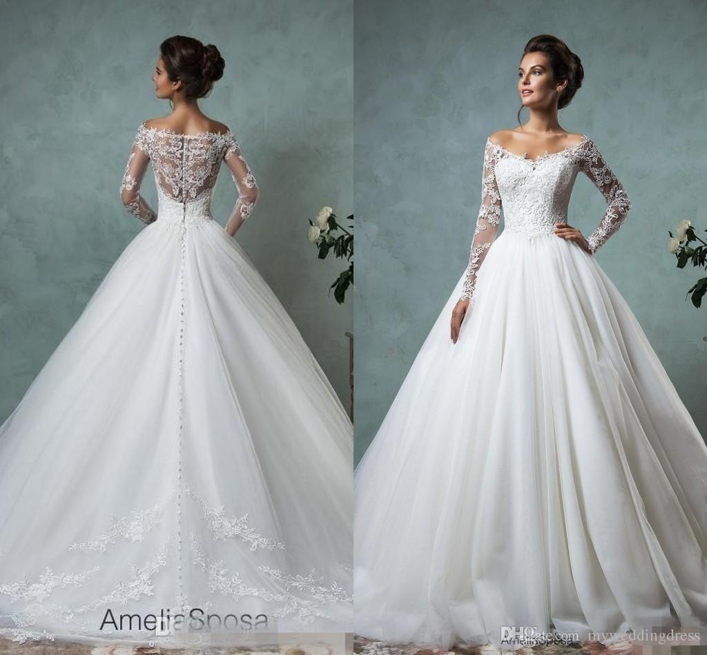 09823a67f0af Wholesale White Vintage Lace Bateau Ribbon Backless Mermaid Berta Bridal  Winter Long Sleeve Wedding Dresses Wedding Gowns Pretty Bridal Wedding Dress