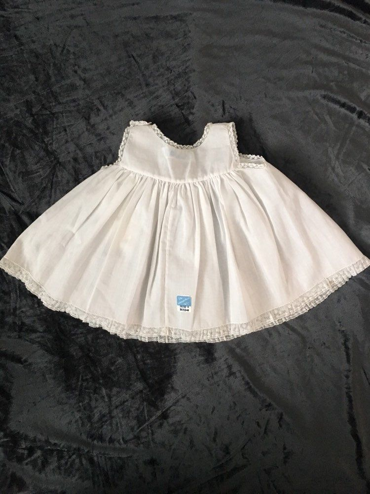 Photo of Vintage baby slip shift for newborn, Feltman Bros old store stock 1980's, white with lace for baby photo shoot, baptism dress, reborn doll