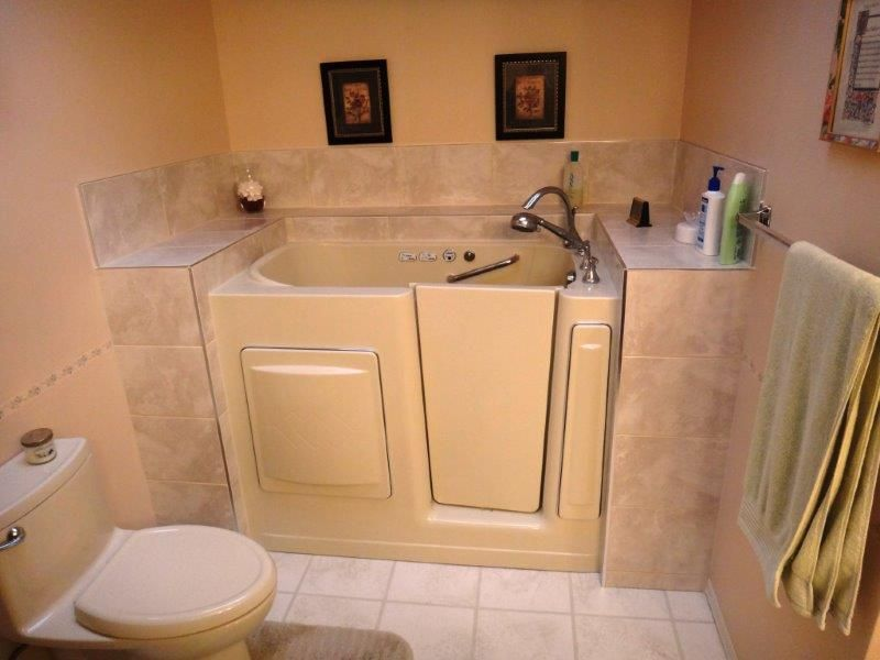 Escape Plus Walk In Tub With Custom Tile Deck Right Door Www Aquassure Com Walk In Tubs Bathroom Addition Small Bathroom