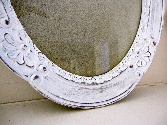 Frame Shabby Chic Frame Distressed Frame White Frame Easel Back Frame Oval Frame 10 X 12 Shabby Chic Frames Distressed Frames Shabby Chic