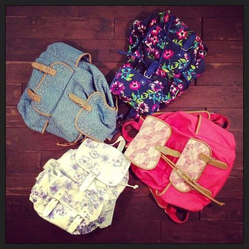 Cute backpacks. ESPECIALLY the flowered one...