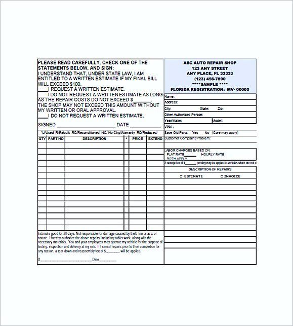 Auto Repair Invoice Form  Auto Repair Invoice Template  Auto