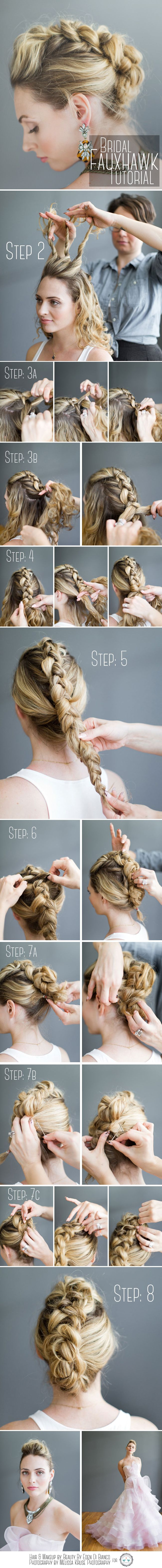 Bridal fauxhawk braid tutorial wedding hair faux hawk