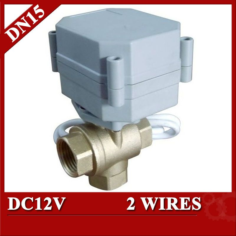 1 2 Dc12v Brass 3 Way T Port Automated Valve Electric Ball Valve 2 Wires Cr201 Dn15 Electric Valve For Solar Syste Electricity Water Heating Electric Motor
