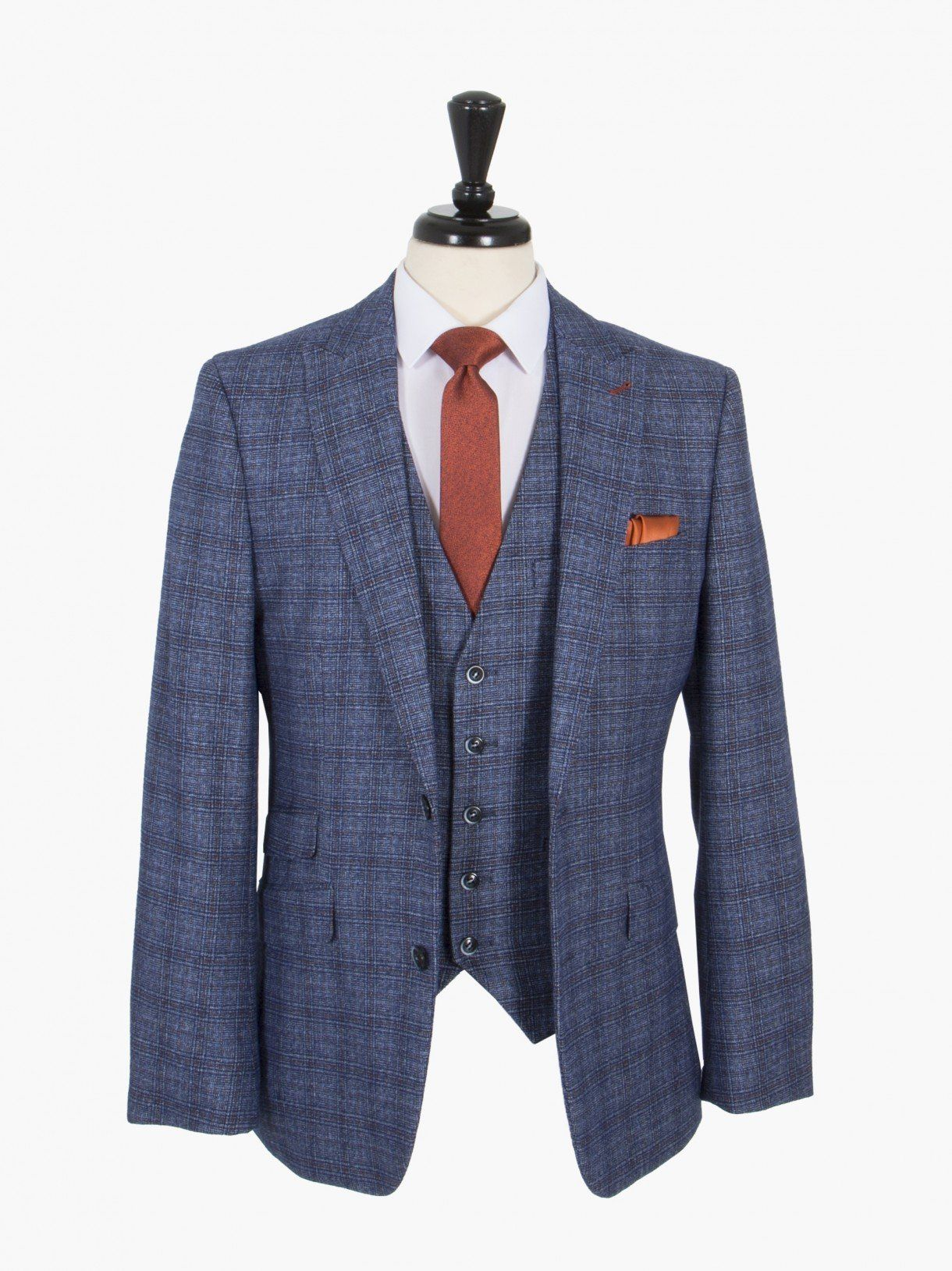 9aa5a41974abcf OneSix5ive Luxury Blue Check Three Piece Slim Fit Suit | Suits ...