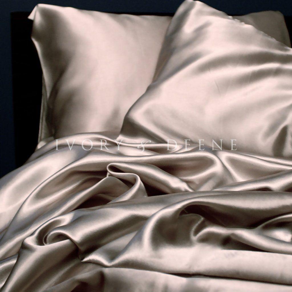 Satin Sheet Set Champagne Latte Silk Bed Sheets Satin