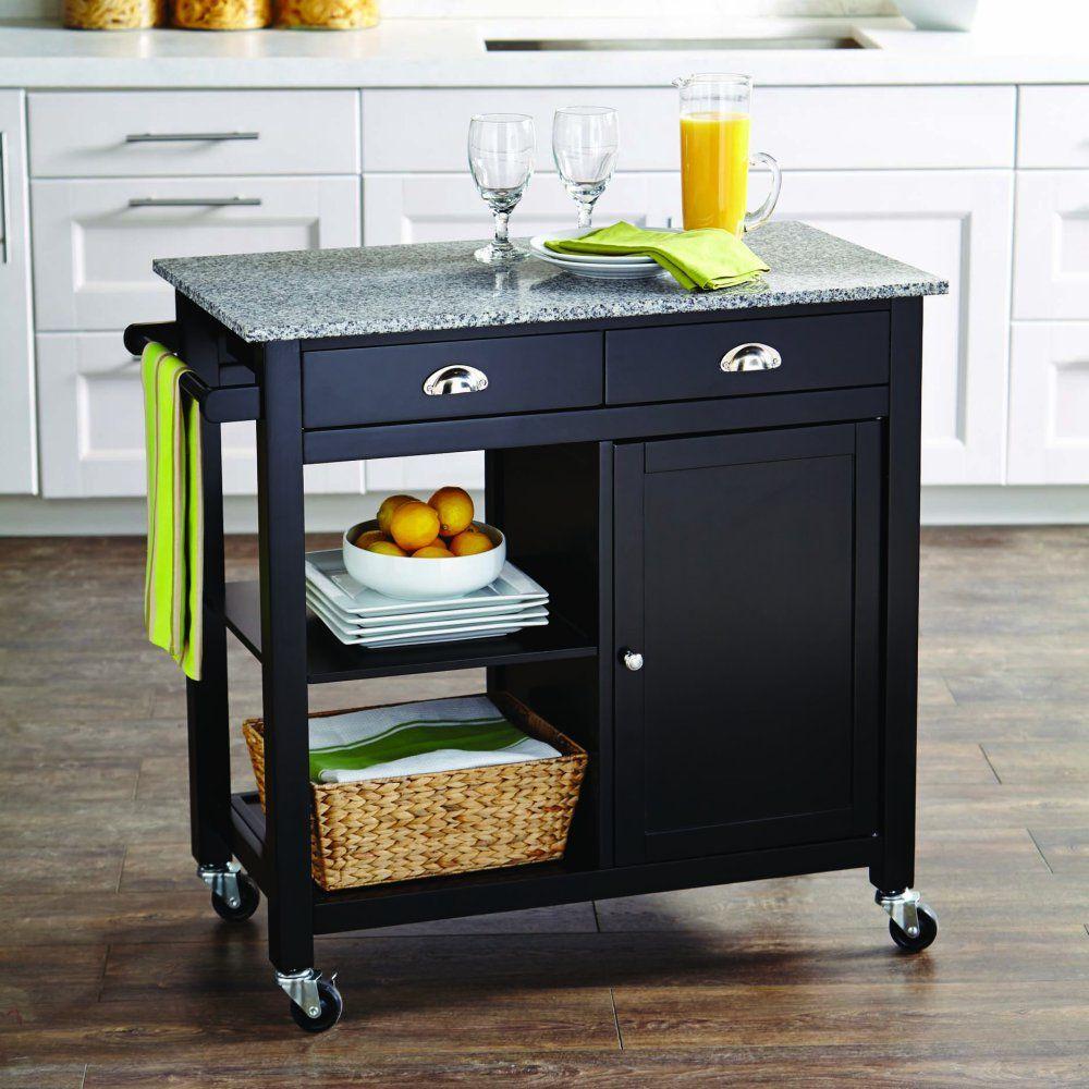 Better Homes Gardens Black 35 Inch Tall Kitchen Cart With Granite Top Casters Walmart Com Walmart Com Tiny Kitchen Kitchen Cart Country Style Kitchen