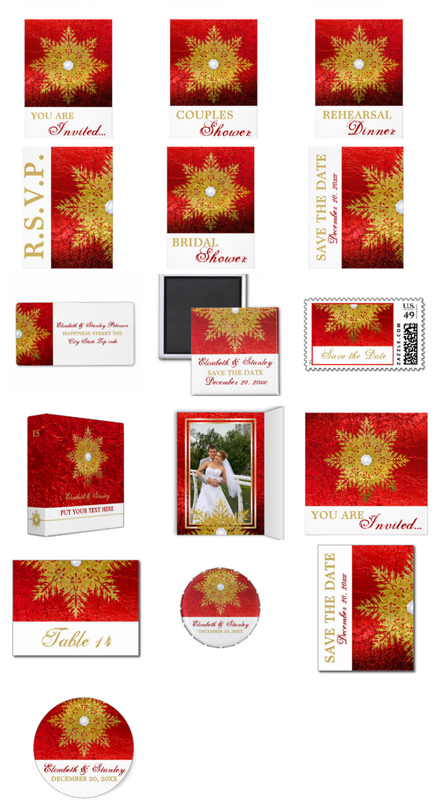 Snowflake Gold, Red wedding invitations, bridal shower invites, Save ...