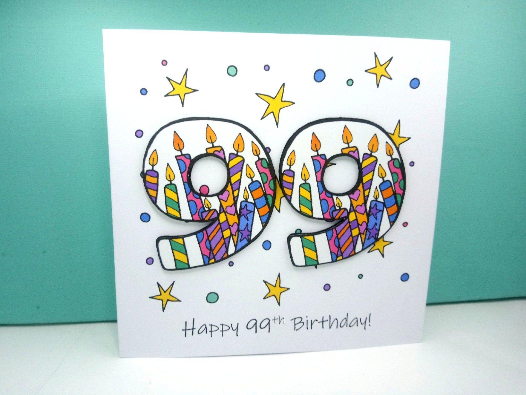 99th Birthday Card Happy 99th Birthday Ninety Nine Today Etsy Birthday Cards Happy 99 Birthday Cards