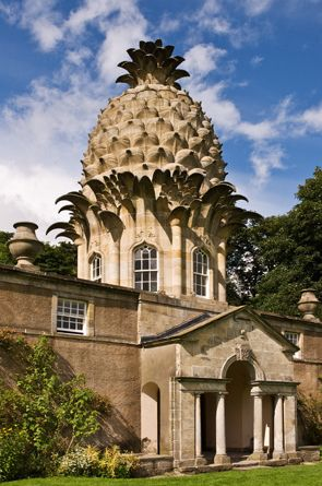 classicalbritain: The Dunmore Pineapple - Scotland Built in 1761, and situated near Airth in Stirlingshire, the 4th Earl of Dunmore John Murray commissioned the construction of the 45-foot high Pineapple, which sits on top of a classical Palladian pavilion, containing a small octagonal room. At the time Pineapples were considered a great luxury and symbolic of travel and status.