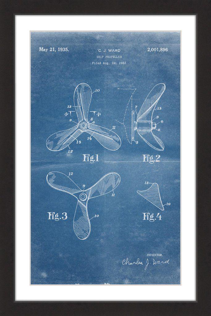 Ship propeller 1933 blueprint marmont hill framed print art ship propeller 1933 blueprint marmont hill blueprint artpaper malvernweather Gallery