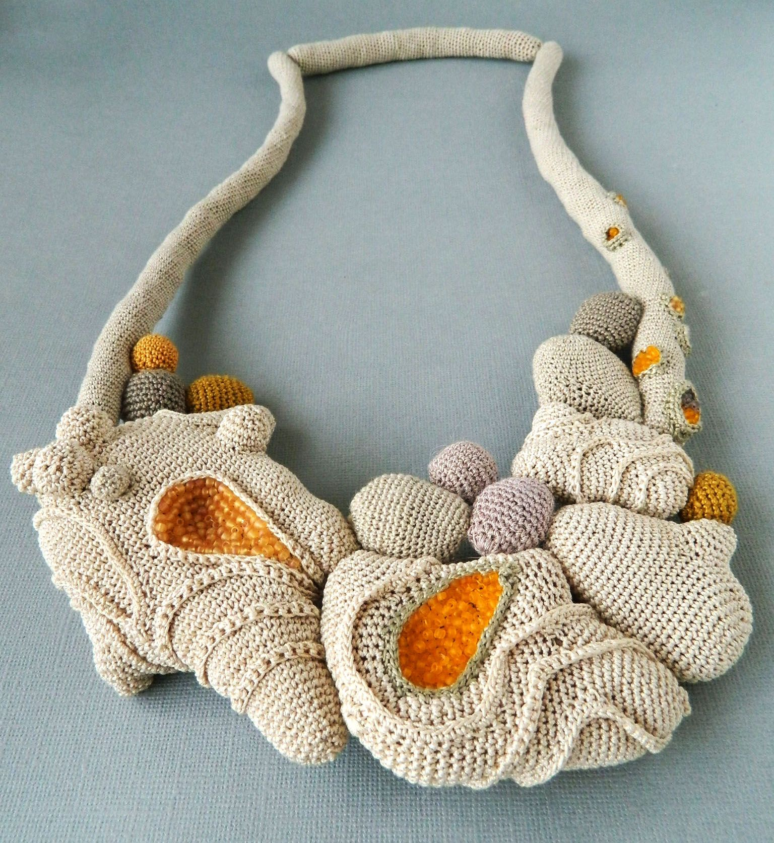 Crochet necklace ( cotton, fabric, glass beads). 2013