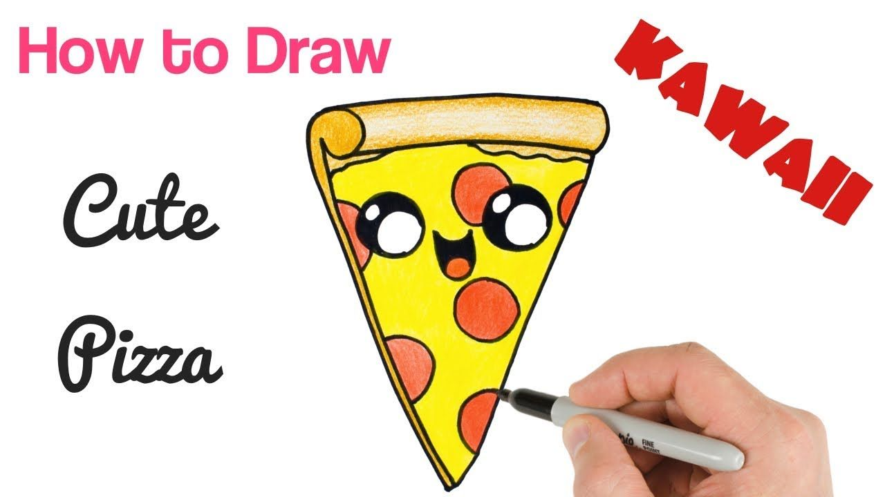 How To Draw A Cartoon Pizza Slice Cute Kawaii And Easy Disegni
