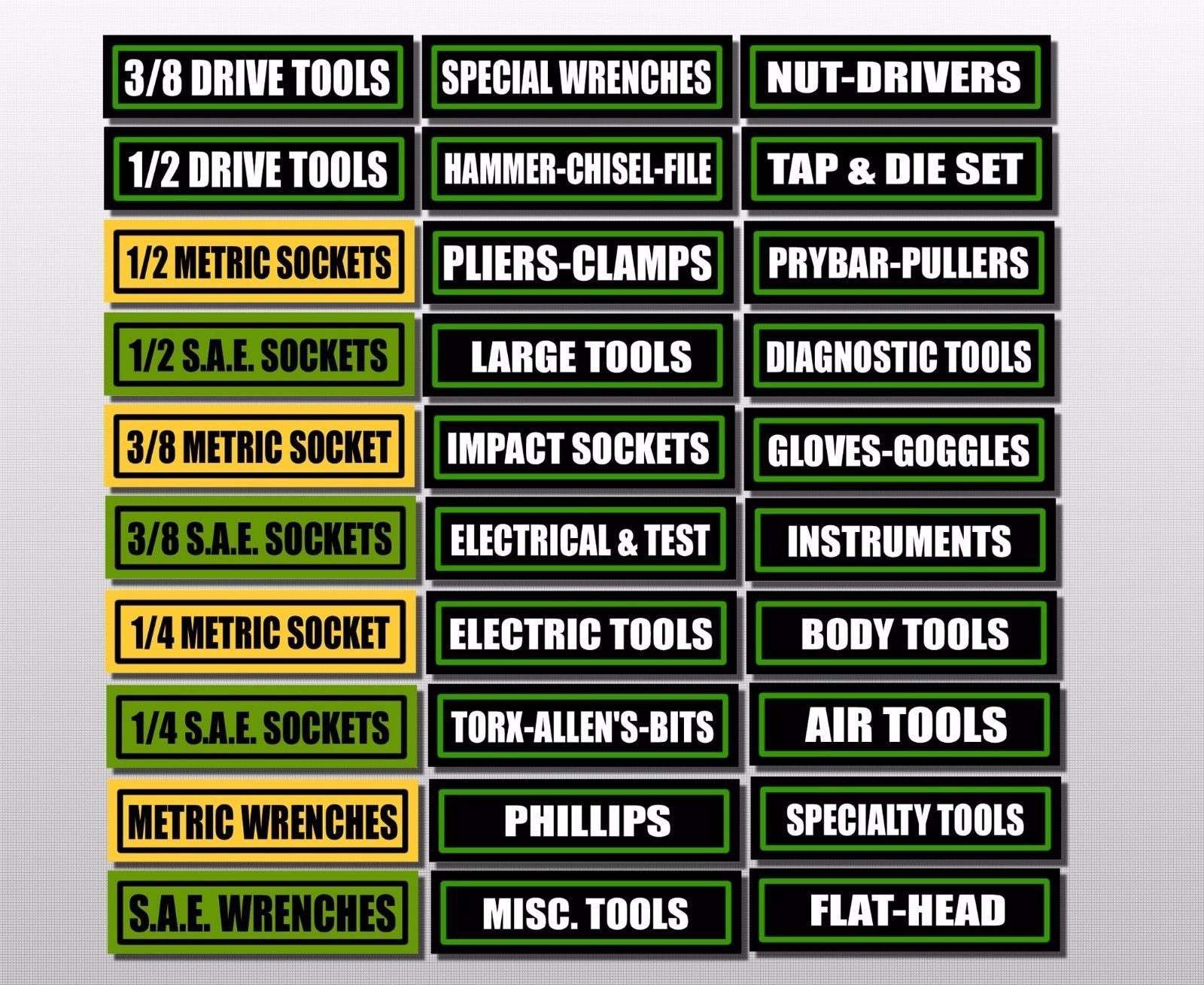 Details About Toolbox Labels Sticker Decals For Drawers And All Tool Box Chest Set 30 Pack Storage Labels Labels Tool Box