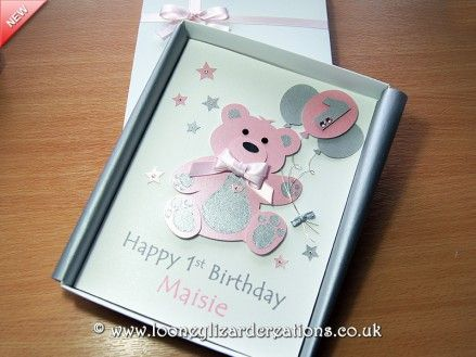 Personalised Adorable Bear with Flowers Handmade Card