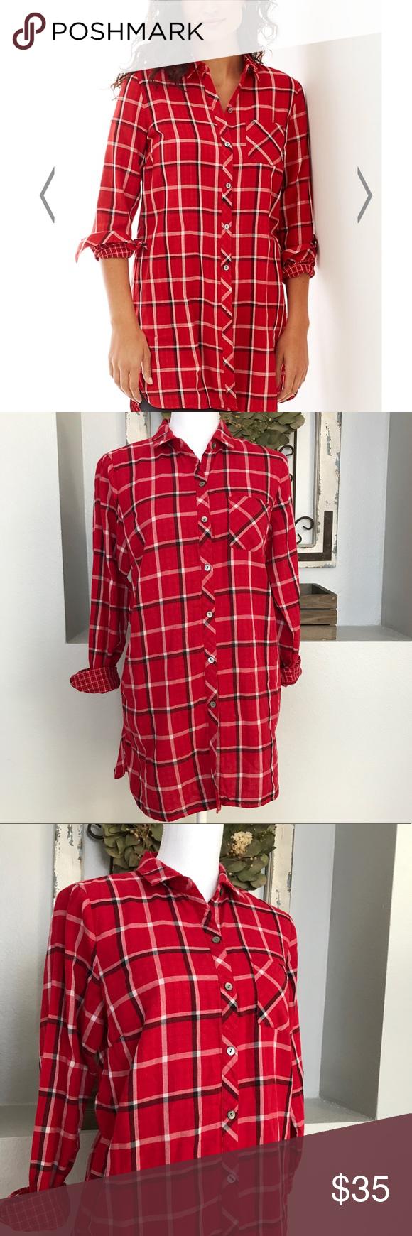 Red flannel vest womens  J Jill Long Red Flannel Tunic  Flannel tunic Red flannel and Flannels