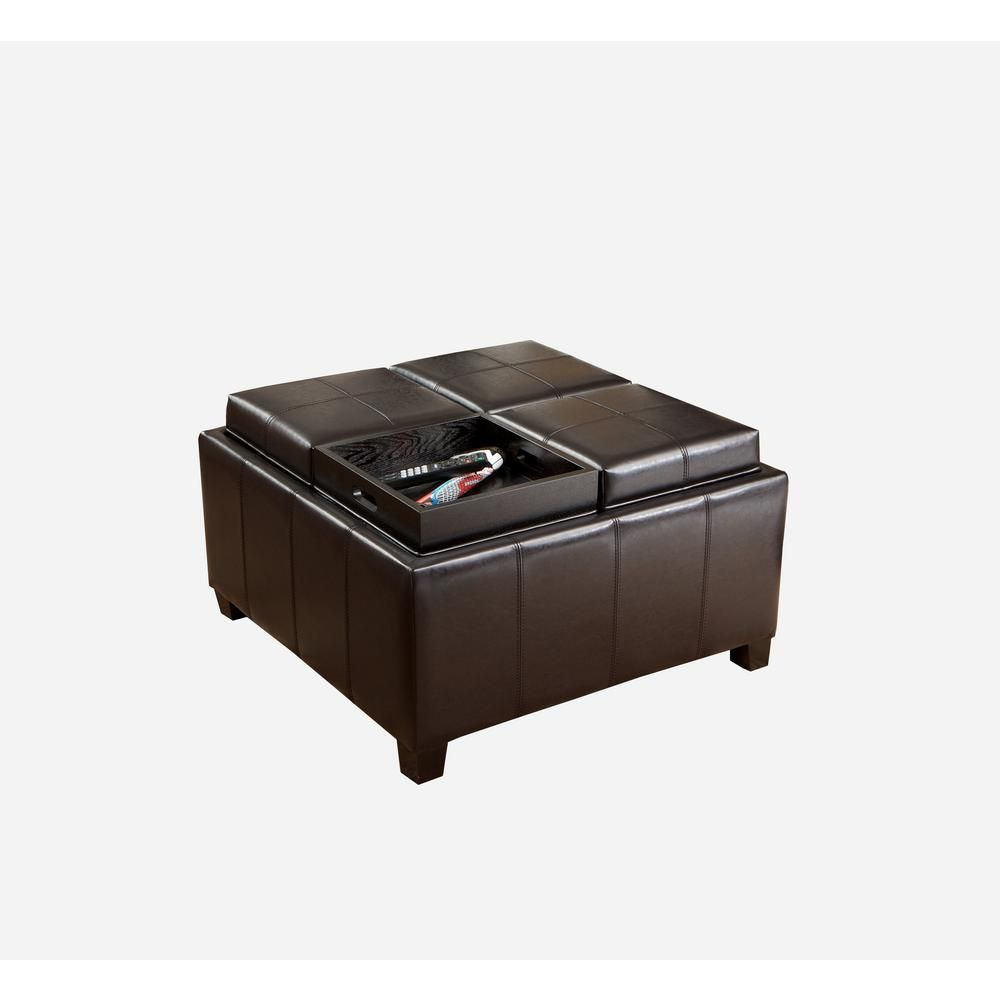 Noble House Mason Espresso Brown Bonded Leather Tray Top Storage