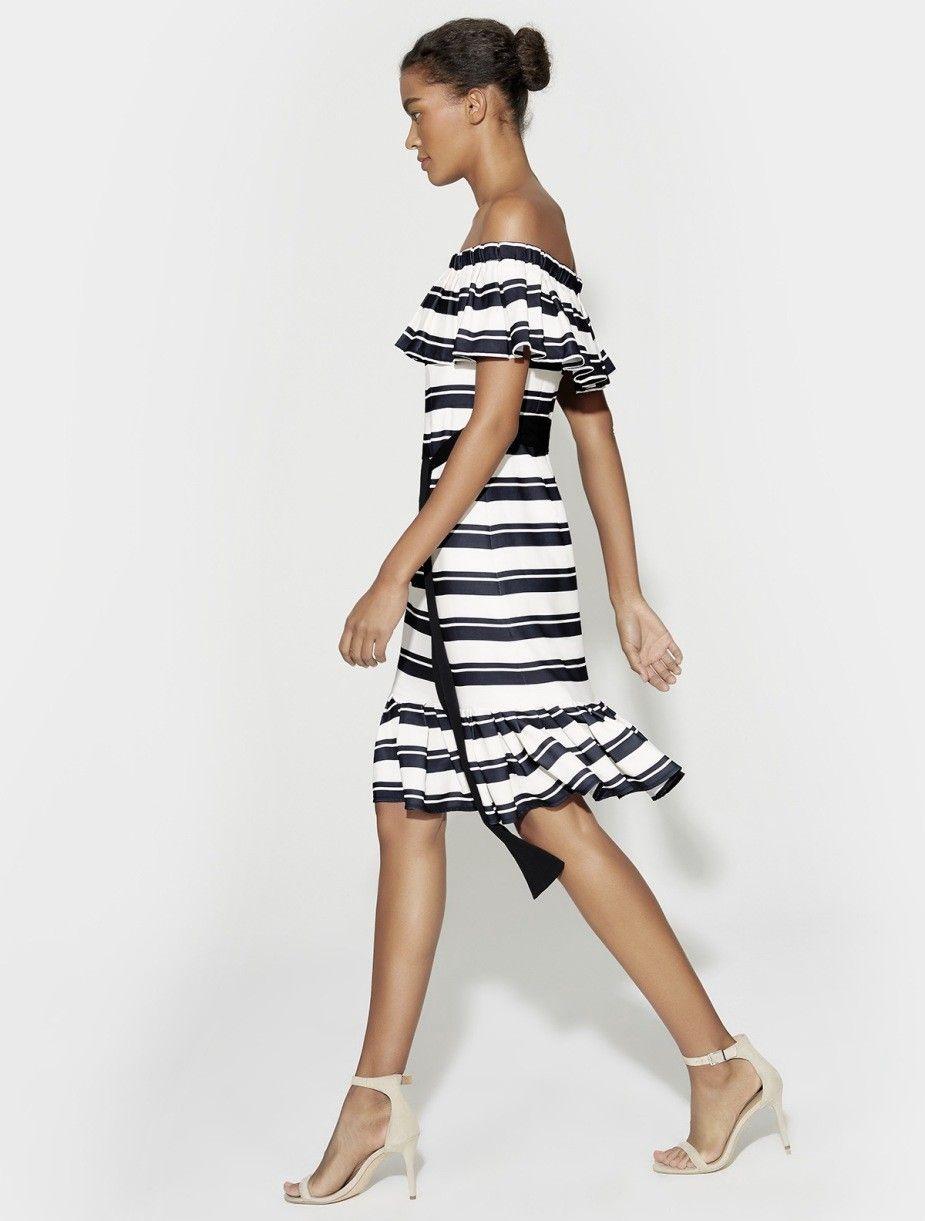 56488d7e0989 Halston Heritage Off Shoulder Flounce Sleeve Striped Dress - Black/ Cream  Nouveau Stripe 10